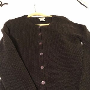 Talbots Black Cardigan in 100% Cotton. Size M